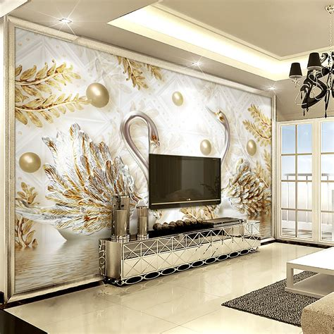 Custom Mural Wallpaper For Bedroom Walls 3d Luxury Gold Jewelry Wa luxury wallpaper jewelry swan wall mural custom 3d wallpaper for wall bedroom