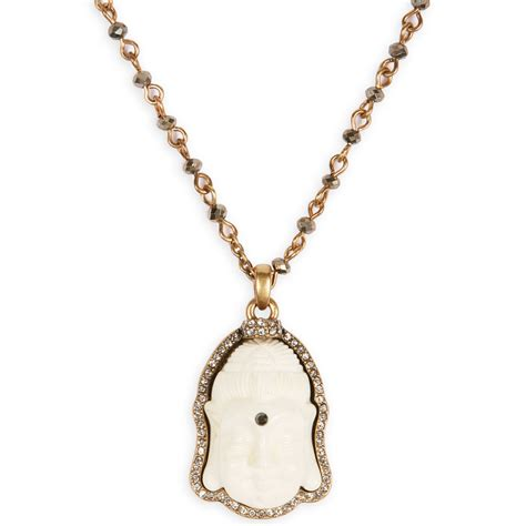 lucky brand goldtone buddha charm necklace in gold lyst