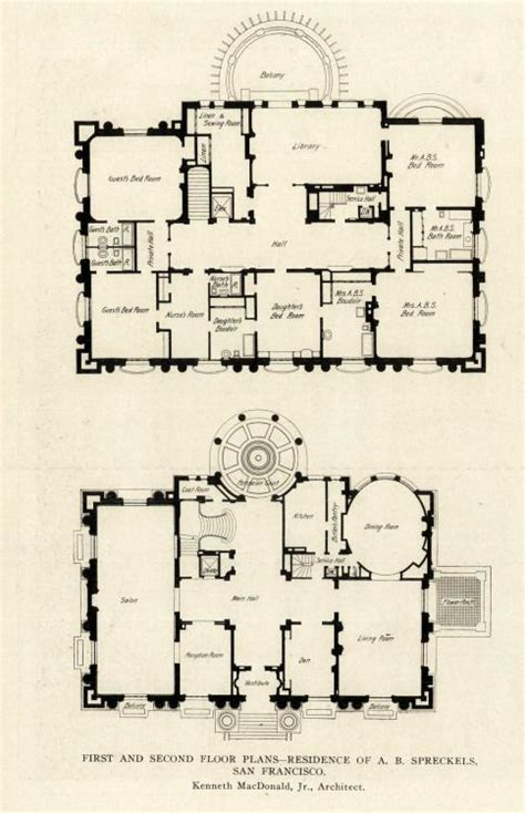 archimaps floor plans   spreckels mansion san francisco architectural floor plans