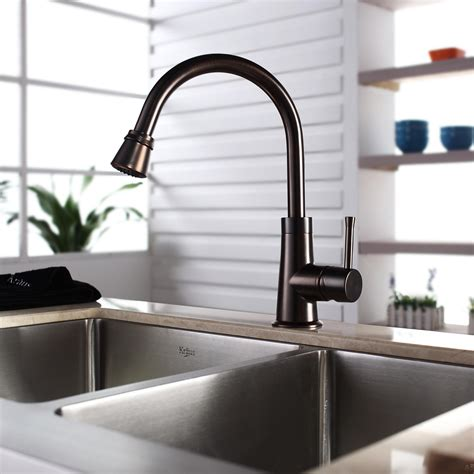 oiled bronze faucet with stainless steel sink kraus khf20333kpf2220ksd30orb 33 quot farmhouse double bowl