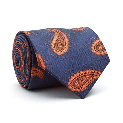 Handmade Ties - handmade tie gold blue paisley blanc touch of modern