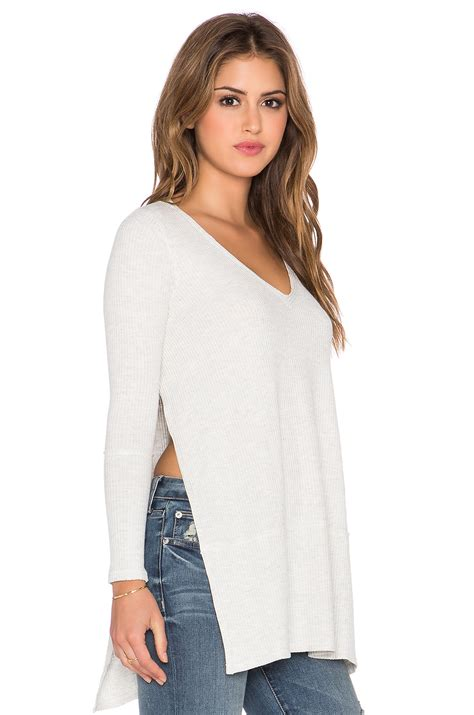 Longsleevetop Whitegrey 15325 lyst free tuesday sleeve top in white