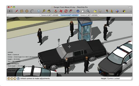 tutorial sketchup italiano placing movie cameras in a model of a production set