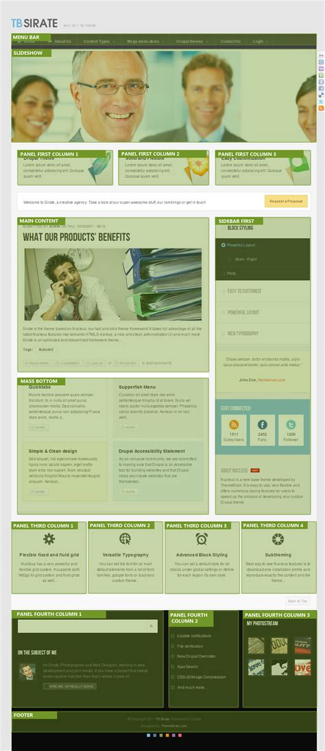 drupal nucleus theme free responsive business drupal theme tb sirate based on