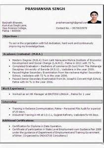 Best Resume For 1 Year Experience by Mba Hr 1 Year Experience Resume