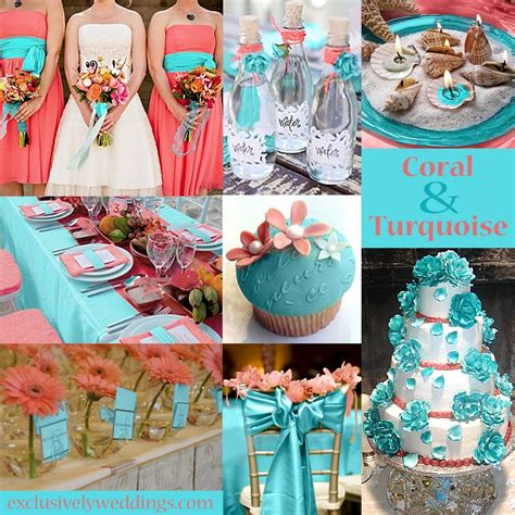 coral wedding colors turquoise wedding color seven combinations