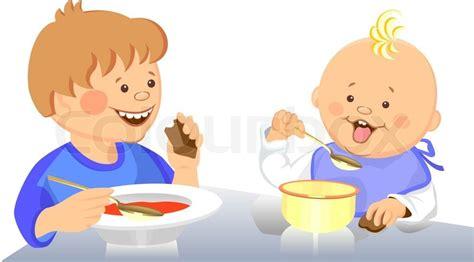 Log Barn Plans Vektor S 248 De Lille Dreng Og Baby Spiser Med En Stock Vektor
