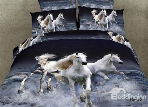 Animal Bedding by 100 Cotton White Gallop In Water Realistic 3d Print
