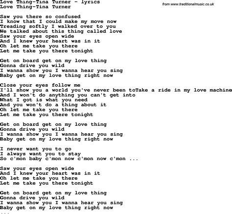 tina turner lyrics song lyrics for thing tina turner