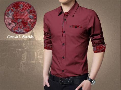desain kemeja simple kemeja batik pria simple moderen warna maroon bj0029