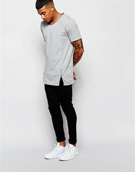 lyst another influence line pocket t shirt in lyst asos longline t shirt with zip in gray for