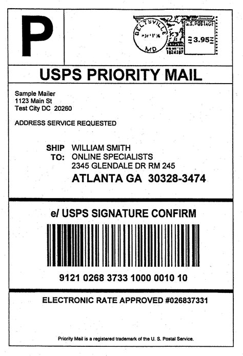 Usps Shipping Label Template Journalingsage Com Package Label Template