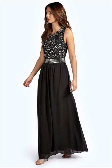 Embellished And Bejewelled Tops And Dresses by Boohoo Womens Boutique Crina Embellished Top Chiffon Maxi