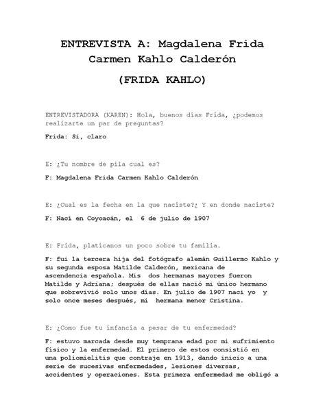 preguntas directas aleman entrevista a frida kahlo by karen vilchis issuu