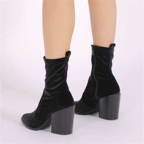 sock boots vogue womens zip up western style sock block heel ankle boots in