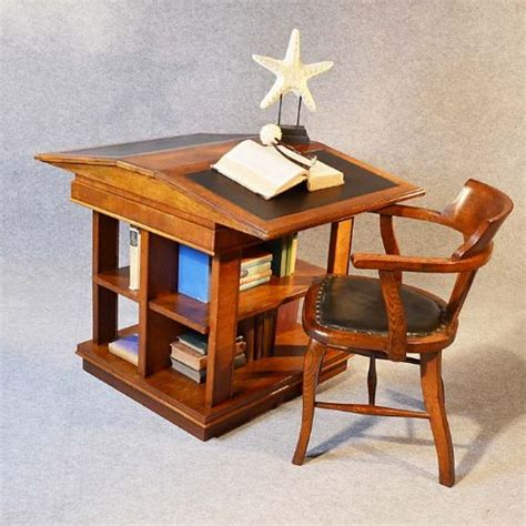 Desk Reading Antique Bookcase Writing Desk Library Reading Table