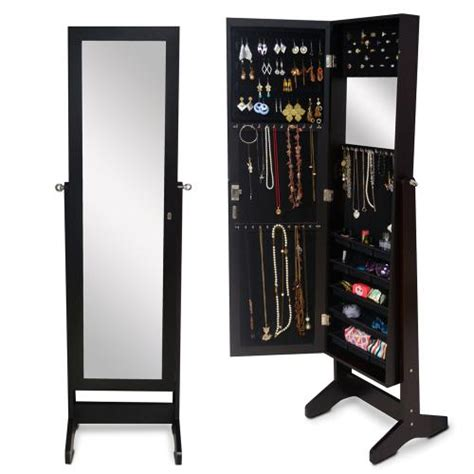 Free Standing Length Mirror Jewelry Armoire by 2018 Wood Jewelry Cabinet Jewelry Storage Armoire Display
