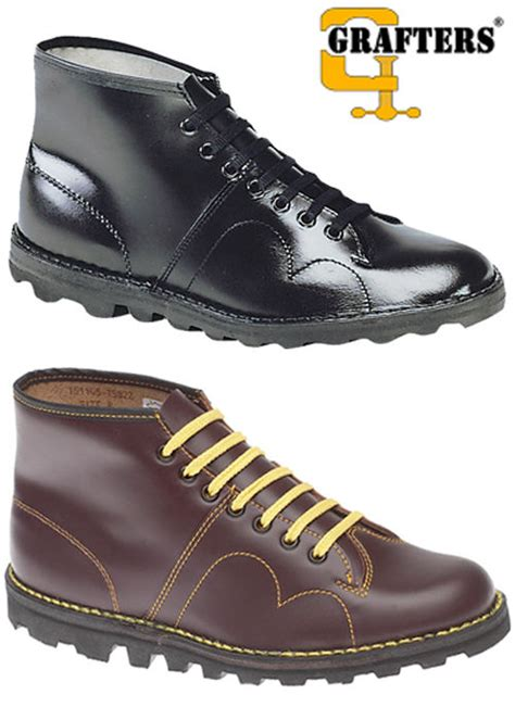 free monkey boots mens leather monkey boots black wine red leather
