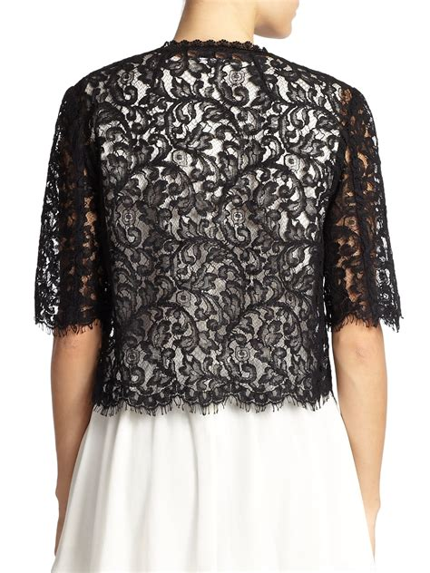 Lace Cardigan lyst st cropped lace cardigan in black
