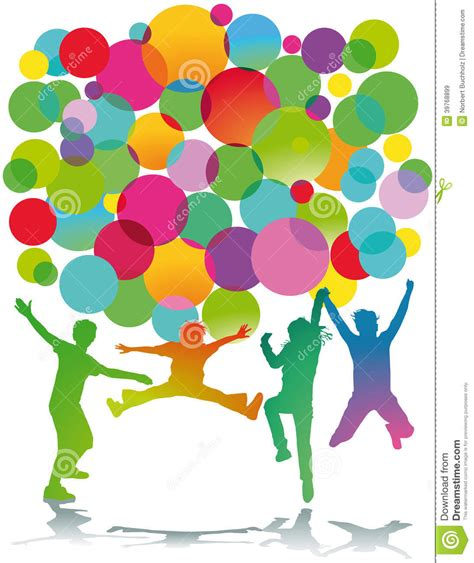 colorful children silhouettes jumping stock photo image