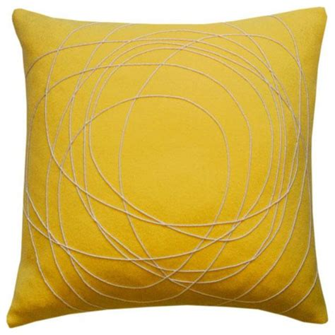 Yellow Pillows Felted Yellow Pillow Contemporary Decorative