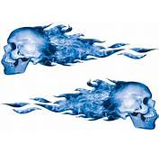 Inferno Skull Flames Blue  Flame Decals Weston Signs Inc