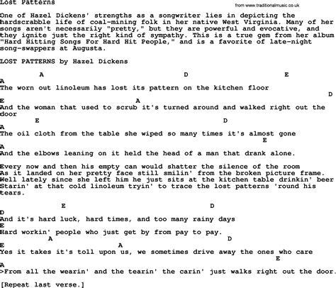 pattern lyrics lost patterns bluegrass lyrics with chords