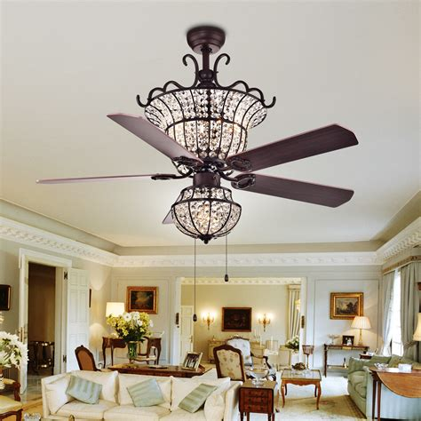 Charla 4 Light Crystal 52 Inch Chandelier Ceiling Fan By Dining Room Ceiling Fans With Lights