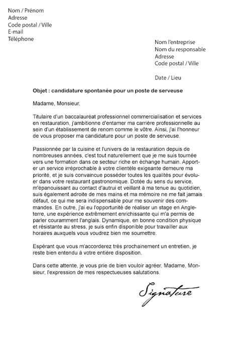 Exemple De Lettre De Motivation Serveuse Lettre De Motivation Serveuse D 233 Butante Mod 232 Le De Lettre