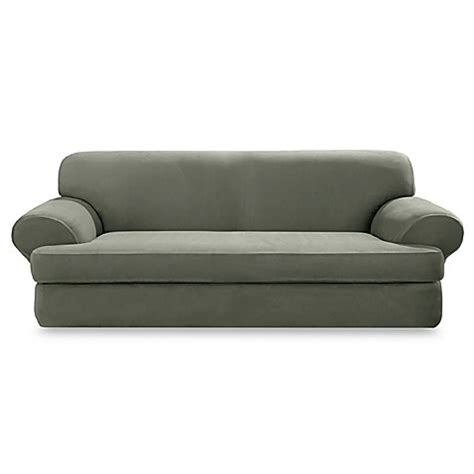 t couch covers sure fit 174 stretch suede 2 piece t cushion sofa cover in