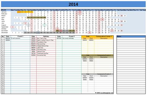 Excell Templates by 2014 Calendar Templates Microsoft And Open Office Templates