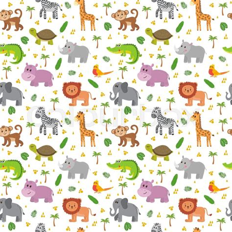 Cute Zoo Wallpaper | african animals seamless pattern cute cartoon childish