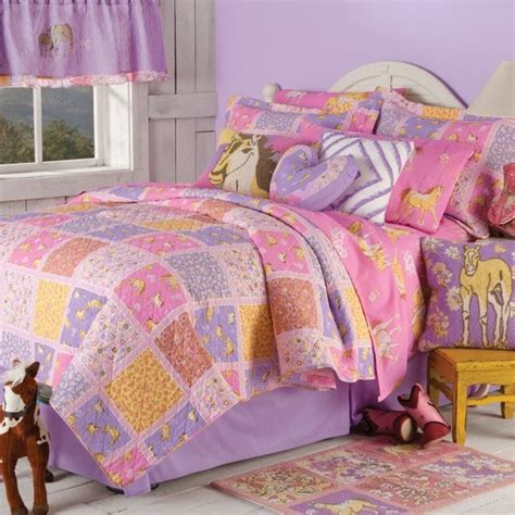 girls horse bedding vintage charm floral ponies quilt collection cowgirl