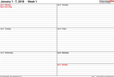 printable calendar 2018 by week 2018 weekly printable calendar calendar template excel