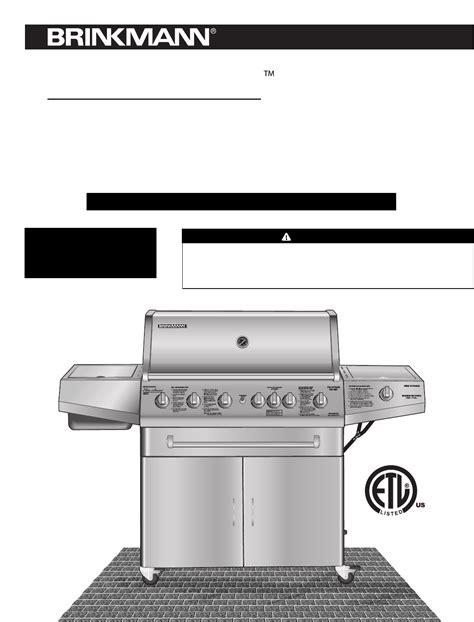Backyard Grill Owner S Manual Brinkmann Gas Grill 4685 User Guide Manualsonline