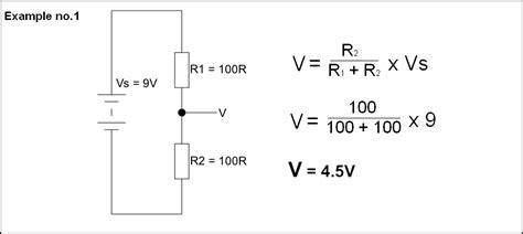 two resistor voltage divider potential dividers