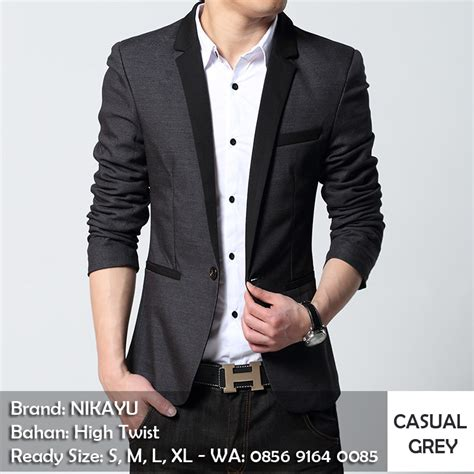 Blazer Casual Gray List jual jas blazer pria casual grey list black nikayu bogor rasa hujan