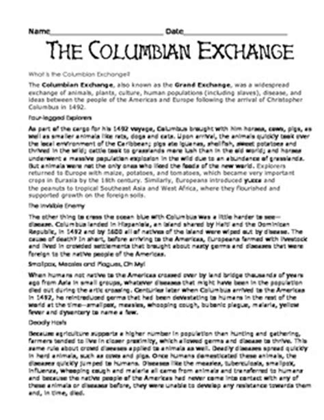 Columbian Exchange Worksheet by The Columbian Exchange Wor By Pena Teachers