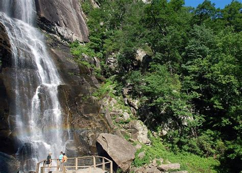 hickory nut falls trail at chimney rock at chimney rock state park