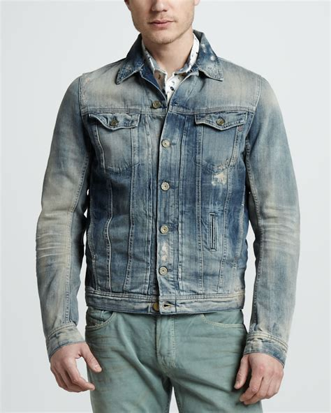Kickers Diesel Leather lyst diesel elshar denim jacket in blue for