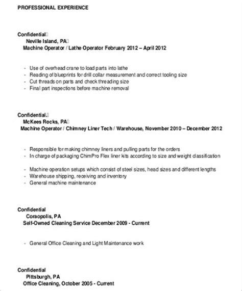Machine Operator Resume by Sle Machine Operator Resume 6 Exles In Word Pdf