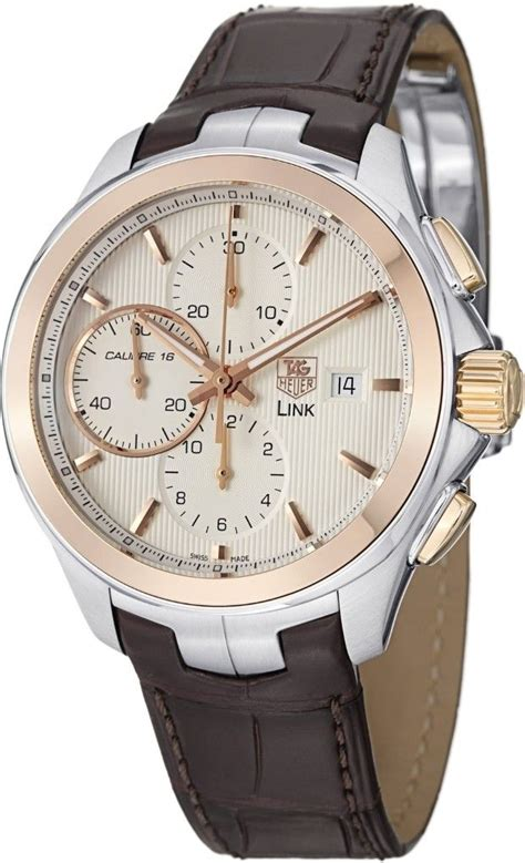 Tag Heuer Fashion Leather Brown s watches tag heuer link silver chronograph 18kt