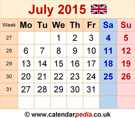Calendar Template July 2015 July 2015 Calendar With Holidays New Calendar Template Site