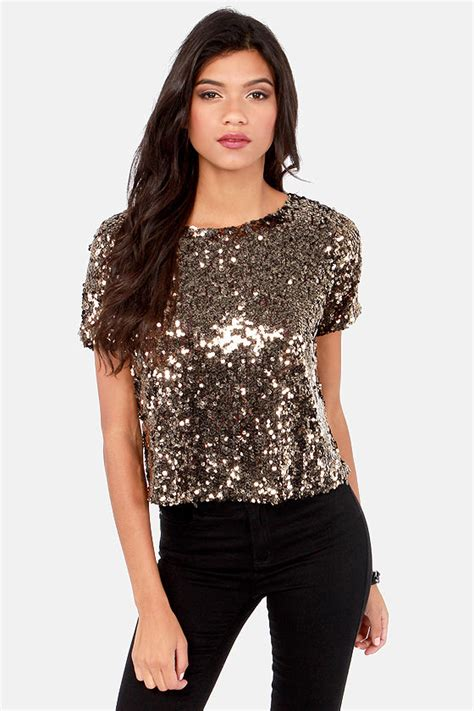 Squin Top by Pretty Gold Top Sequin Top Sleeve Top 63 00
