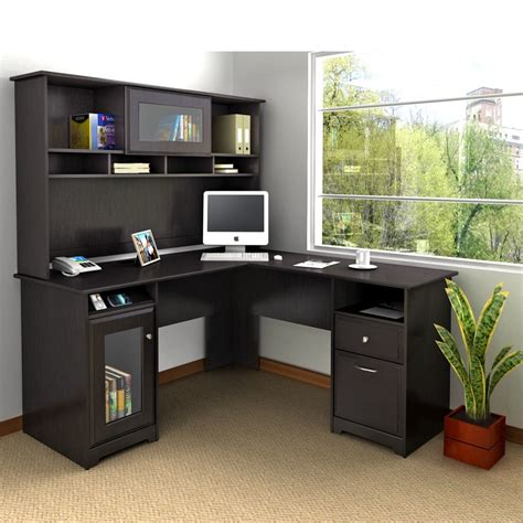 bush industries cabot l shaped computer desk with hutch