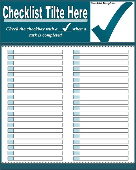 7 Checklist Templates Excel Pdf Formats Microsoft Word Template Checklist