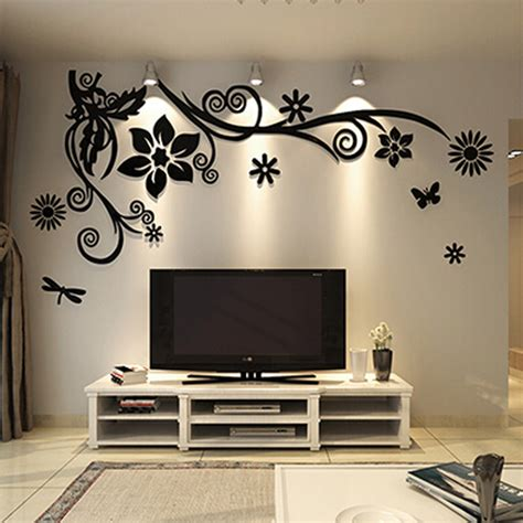 best home decorations aliexpress buy wonderful tv background decoration flowers acrylic wall sticker best home