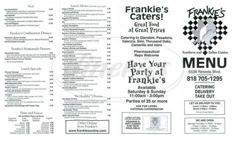 S Kitchen Menu by Frankies Italian Kitchen Menu Tarzana Dineries