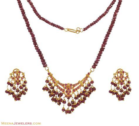 ruby gold necklace ruby necklace set 22k gold psru10509 us 2 384 22k