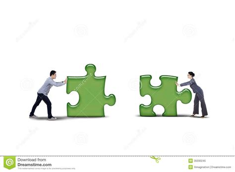 Put Together by Isolated Business Partner Putting Together Two Puzzle